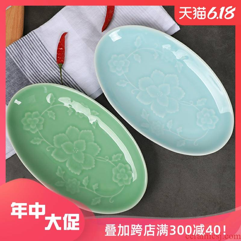 Large ceramic plate fish dish home bound peony 11 inches elliptical fish dish of steamed fish sushi plate
