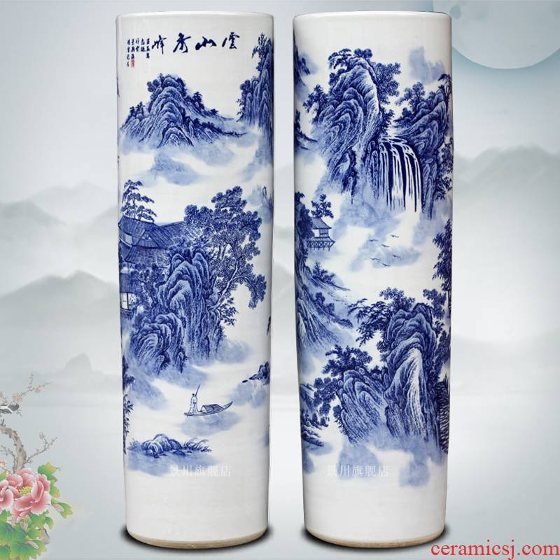Jingdezhen blue and white porcelain is hand - made landscape painting ceramic quiver of large vases, furnishing articles home sitting room accessory products