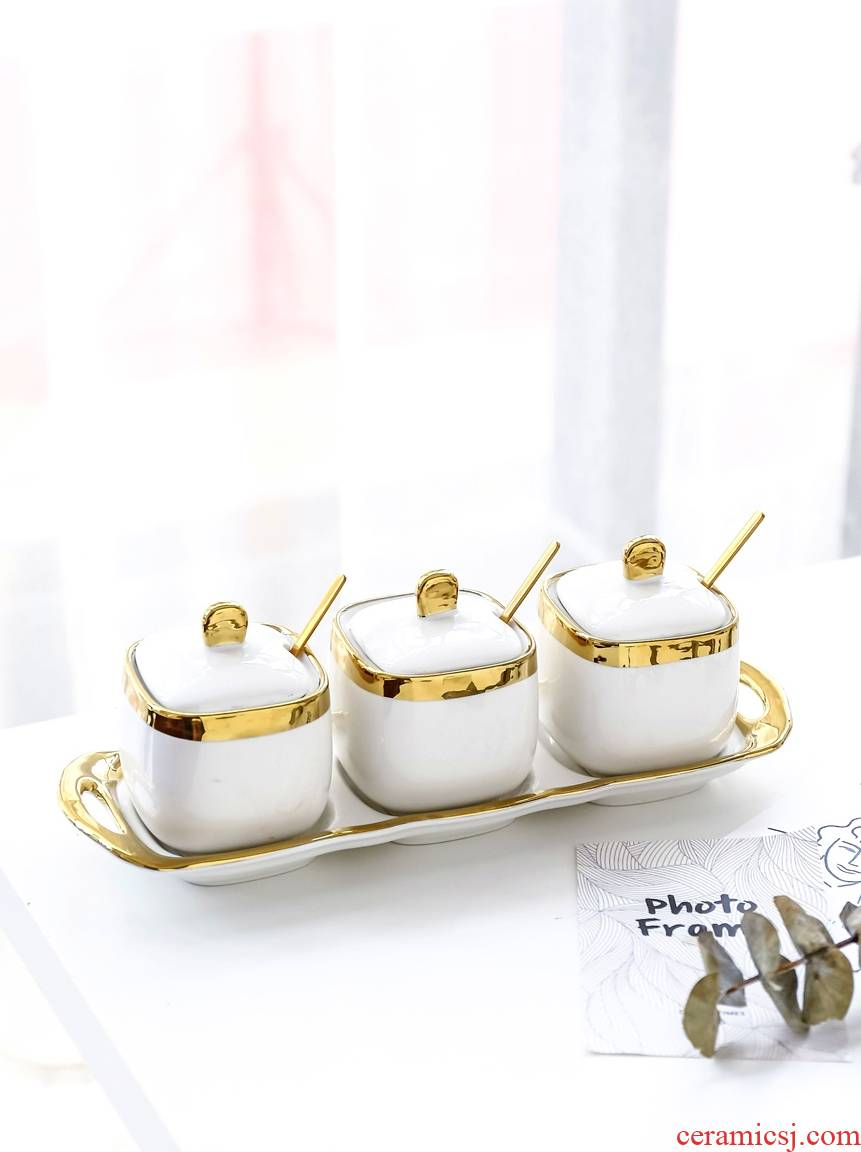 Scene best Nordic light key-2 luxury up phnom penh ceramic white sugar pot seasoning salt seasoning sauce bottles 4 times