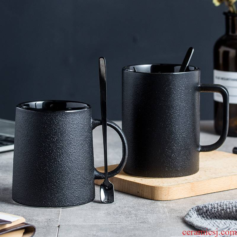 Choi pomelo ceramic keller northern wind restoring ancient ways is contracted with a spoon, black frosted small delicate glass ceramic coffee cup