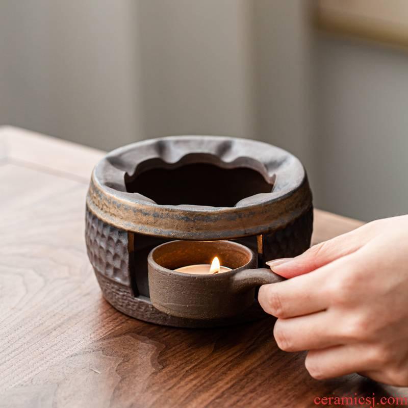 A Warm tea stove based vintage Japanese coarse pottery pot heating base gold insulation cook kung fu tea Warm tea set
