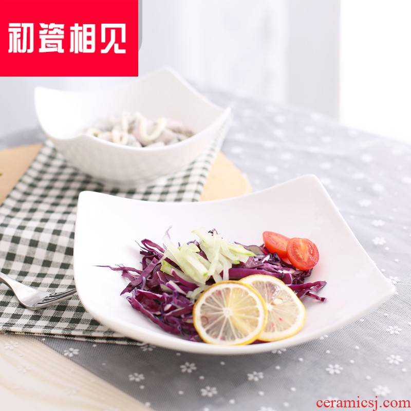 Pure white porcelain meet each other at the beginning of the new ceramic salad platter household pasta dish plate deformed newborn ipads porcelain plate