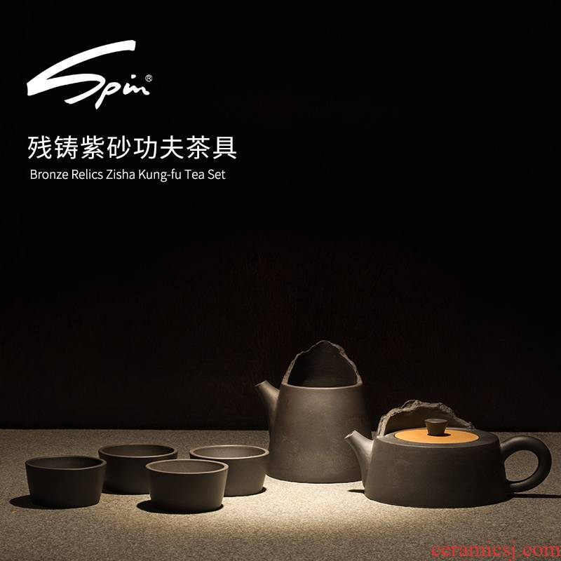 Spin casting residue violet arenaceous kung fu tea set manual it suit a pot of four cups of household gifts gift box