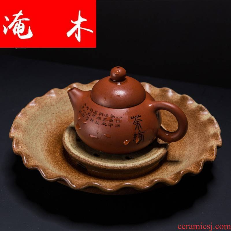 Submerged wood ling Ming jia lotus pot bearing are it a cup mat imitation bronze cup thick desk tray TaoGan mercifully tea tray tea set