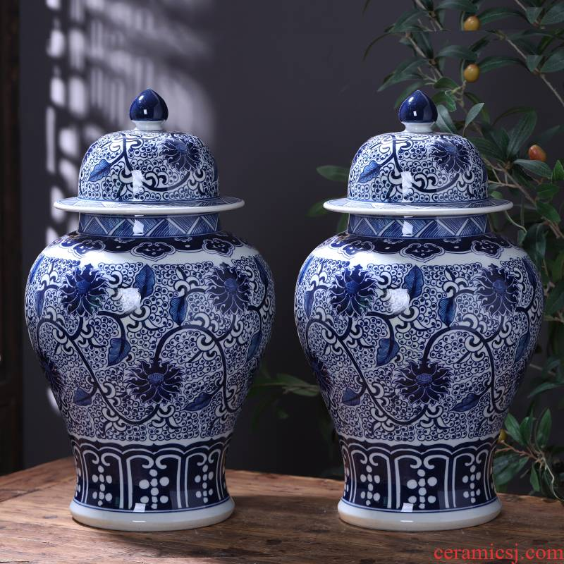 Jingdezhen ceramics vase general hand - made antique store content of blue and white porcelain pot decorate household act the role ofing is tasted furnishing articles