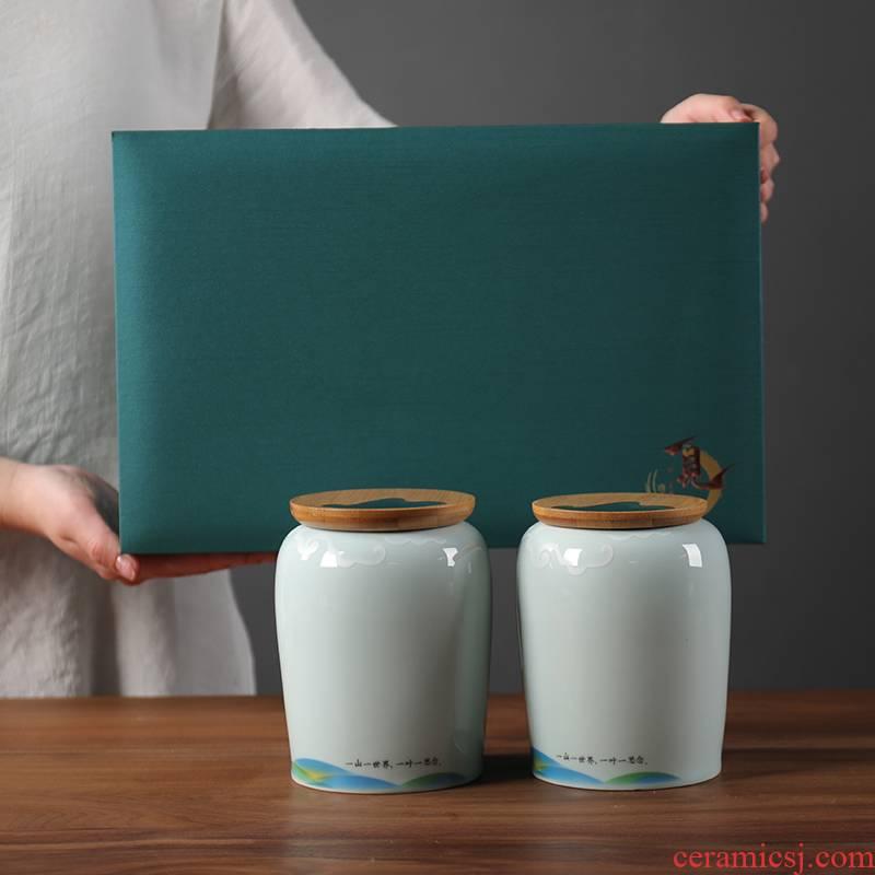 Tea packaging gift box empty the new gm in half jins of green Tea, red Tea pot of ceramic seal pot double pot of custom