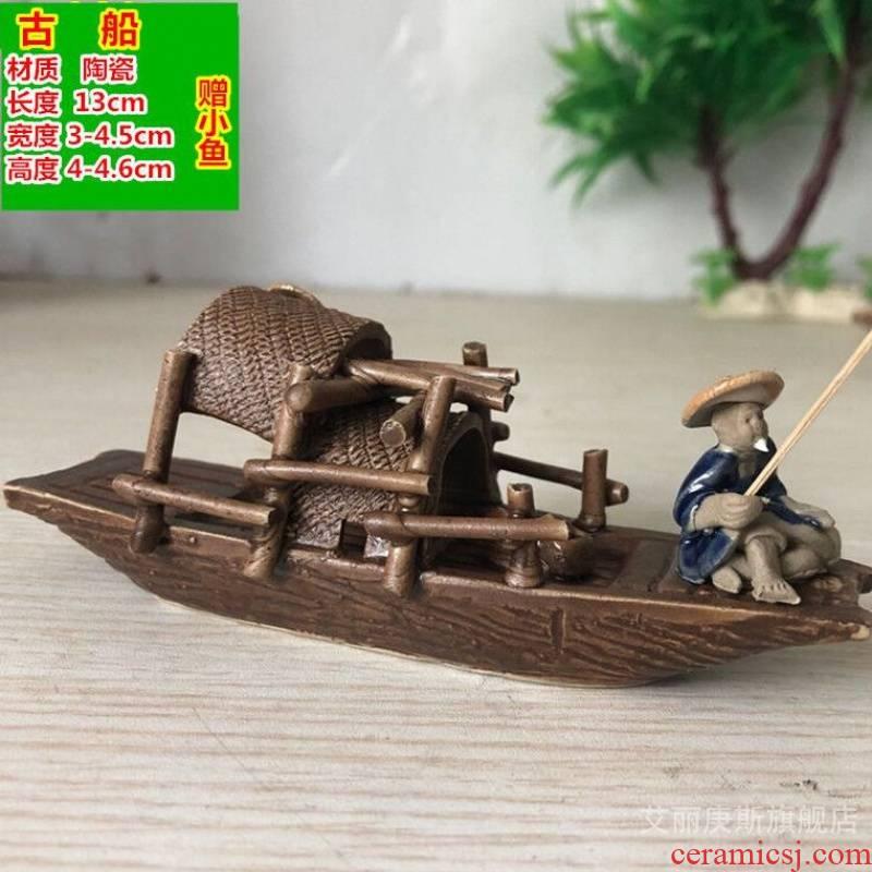 Bonsai rockery accessories small place ceramic sets sail fishing boat fish tank decoration ships fountain flow aquarium accessories
