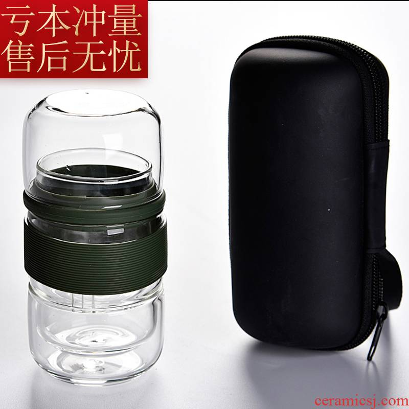 Crack cup against a pot of three cups of hot ceramics glass portable travel is suing kung fu tea set with contracted