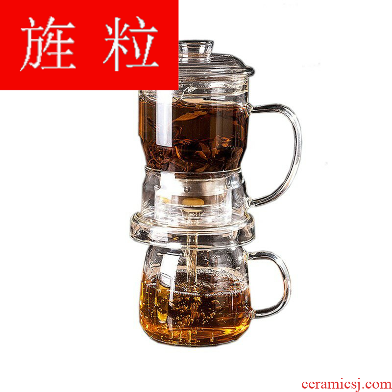 Continuous grain of lazy glass set 6 cups heat - resistant domestic filter rushed the teapot automatic tea