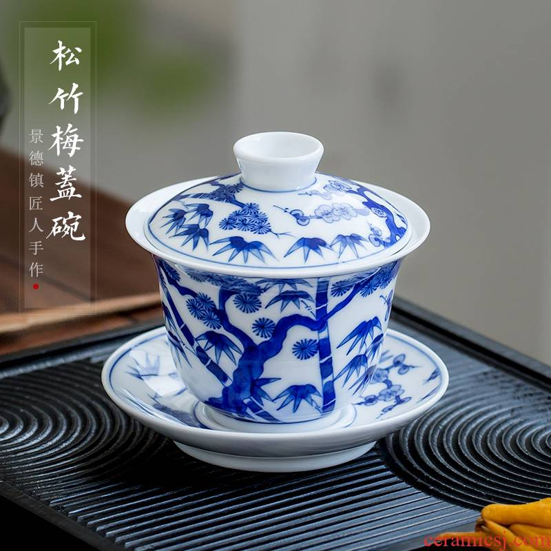 Jingdezhen up the fire which ceramic tureen single hand - made kung fu tea set of blue and white porcelain cups three tea bowl