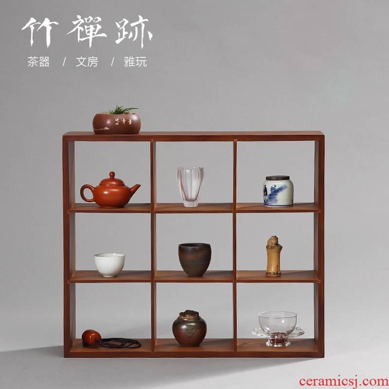 The Receive ZhuChan mark cup tea shelf rack bamboo rich ancient frame show little teapot solid wood trellis shelf