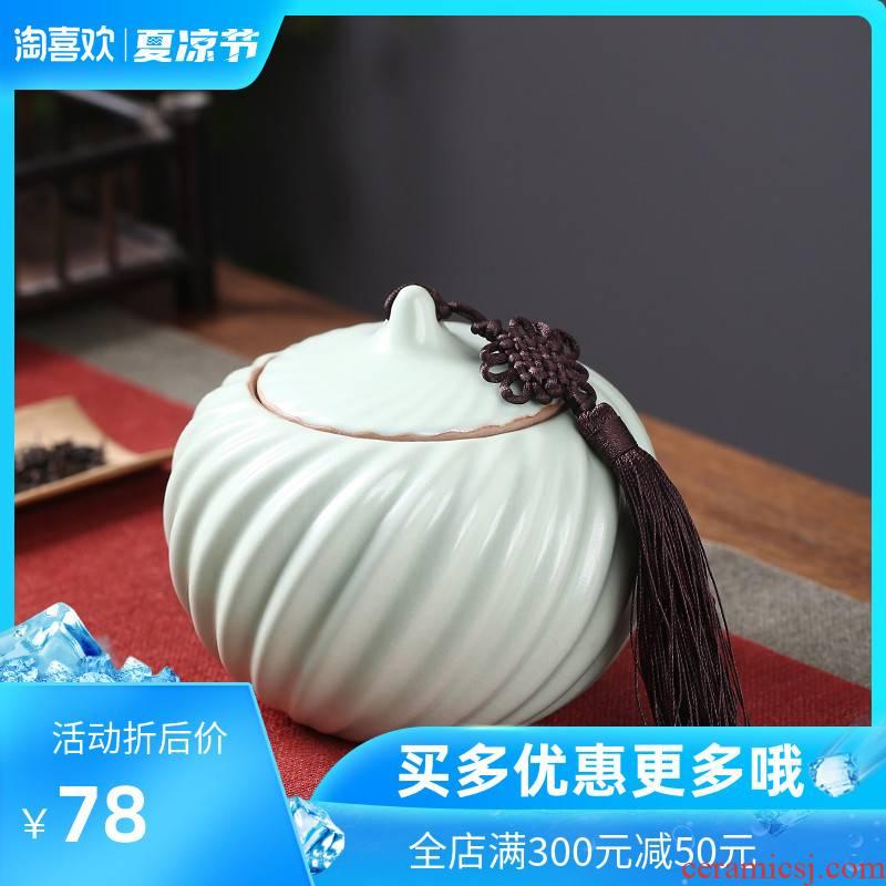Chang your up crown caddy fixings large seal pot creative ceramic jar tieguanyin storage tanks puer tea pot