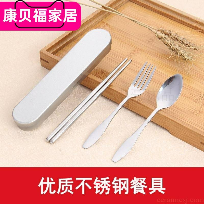 304 stainless steel portable tableware boxed set/children receive a tin box/fork spoon, chopsticks travel pack