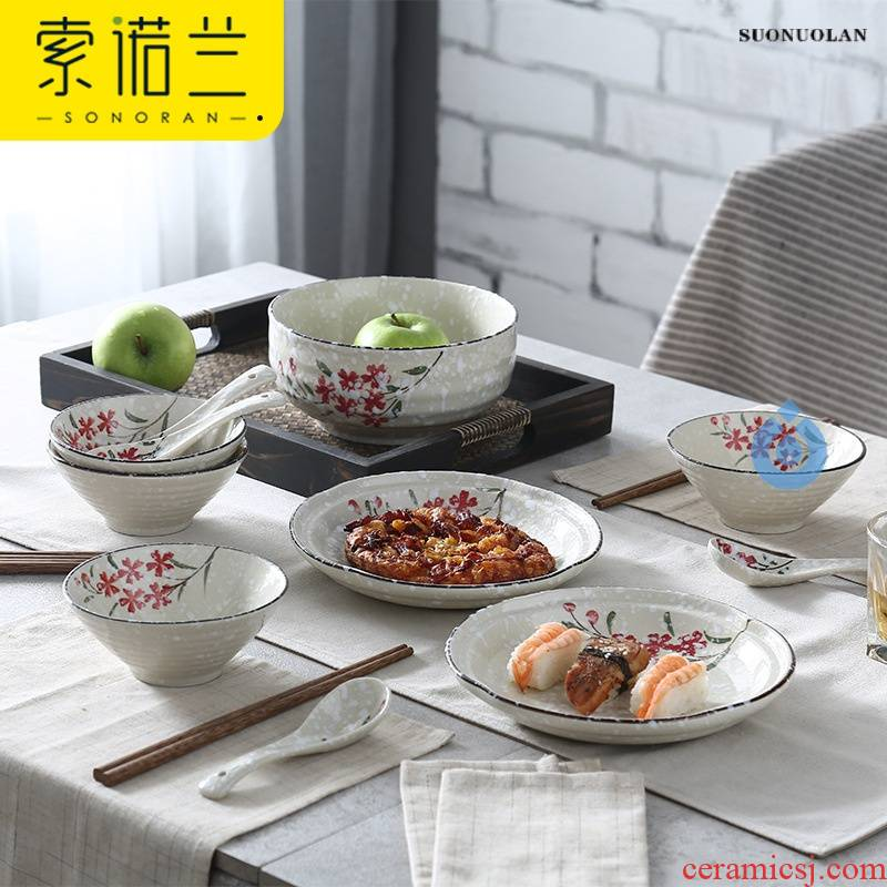 Wholesale hand under glaze color porcelain factory creative Japanese household crockery bowl plate tableware to send gift set
