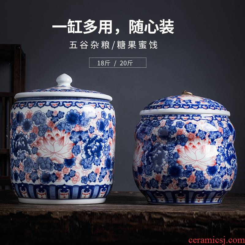 Jingdezhen ceramic barrel ricer box rice flour storage bin 20 jins home moistureproof insect - resistant rice jar with cover seal the bucket