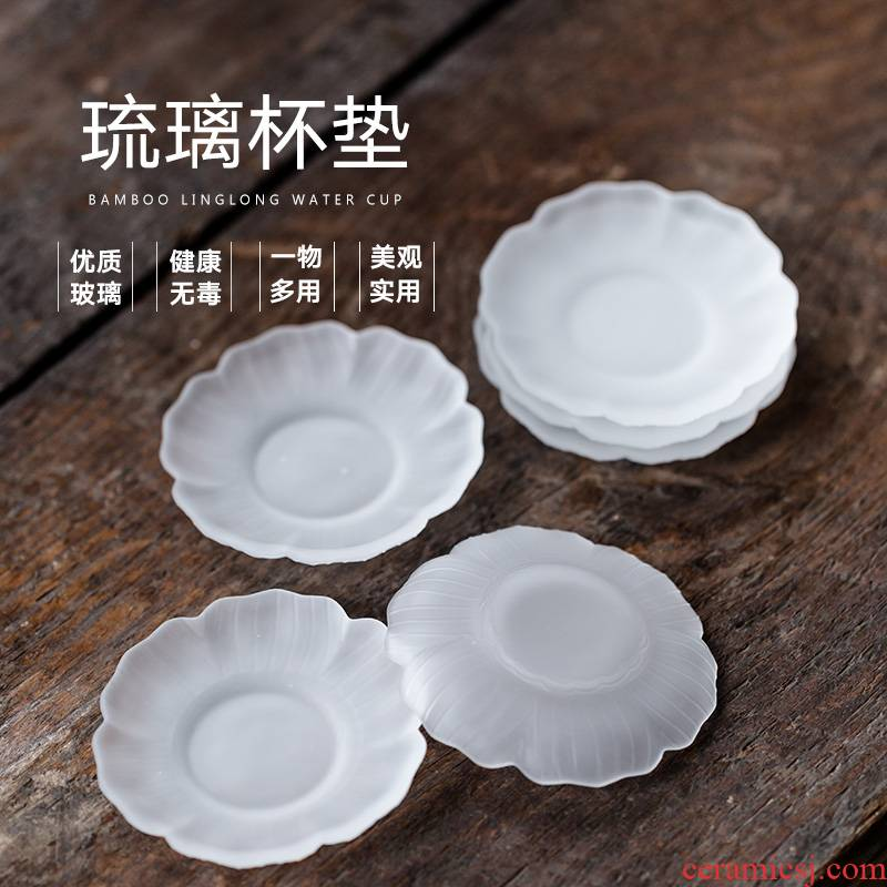 Japanese ancient hand made glass glass cup pad insulation pad, heat - resistant iron household cup saucer tea accessories