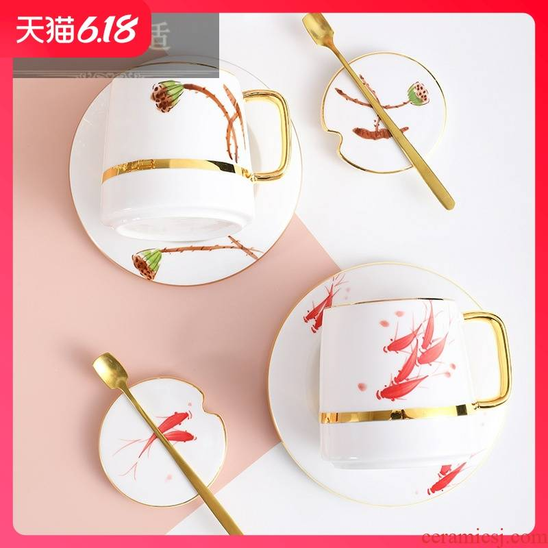 Guest comfortable Nordic resistant ceramic keller with cover of creative move trend restoring ancient ways of water box package of coffee cup
