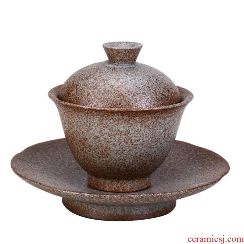 Xu ink rust glaze large only three tureen ceramic tea bowl of tea cups coarse pottery hand grasp the bowl kung fu tea set