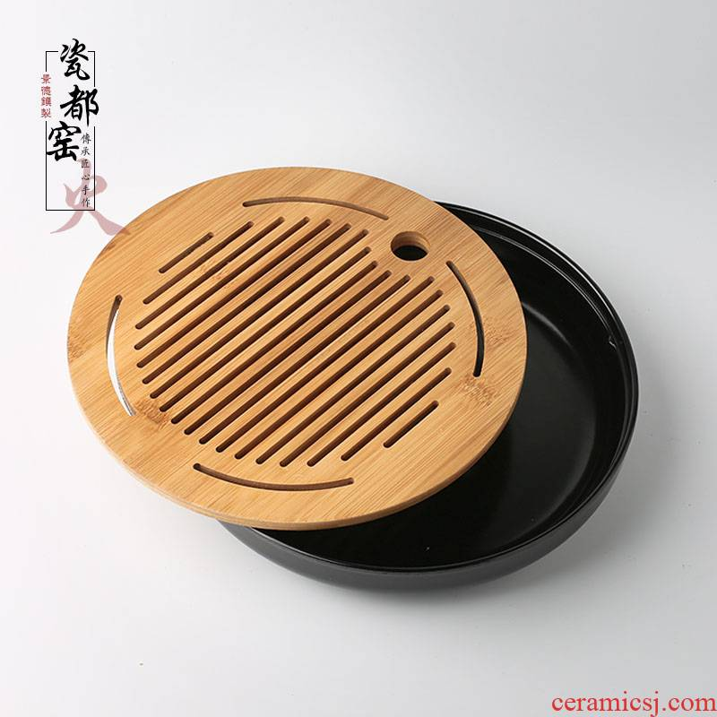 Contracted small tea tray with simple tea table one round, square, melamine bamboo tea set dry storage type mercifully