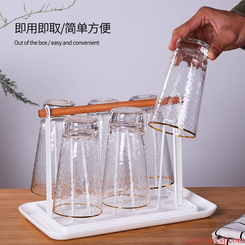 Glass cup frame Glass cup frame hanging rack cupholders receive drop creative household Glass shelf waterlogging under caused by excessive rainfall