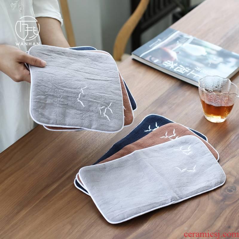 Suction thickening zen tea towel Japanese tea tea cloth dedicated towels rectangular checking cotton tea towel small squares