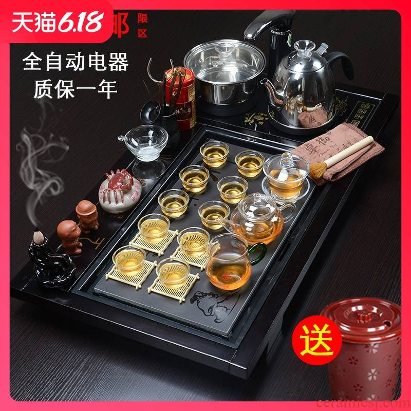 Hold to guest comfortable manufacturers shot solid wood tea tray tea violet arenaceous kung fu tea set ceramic gift set automatic electrical appliances