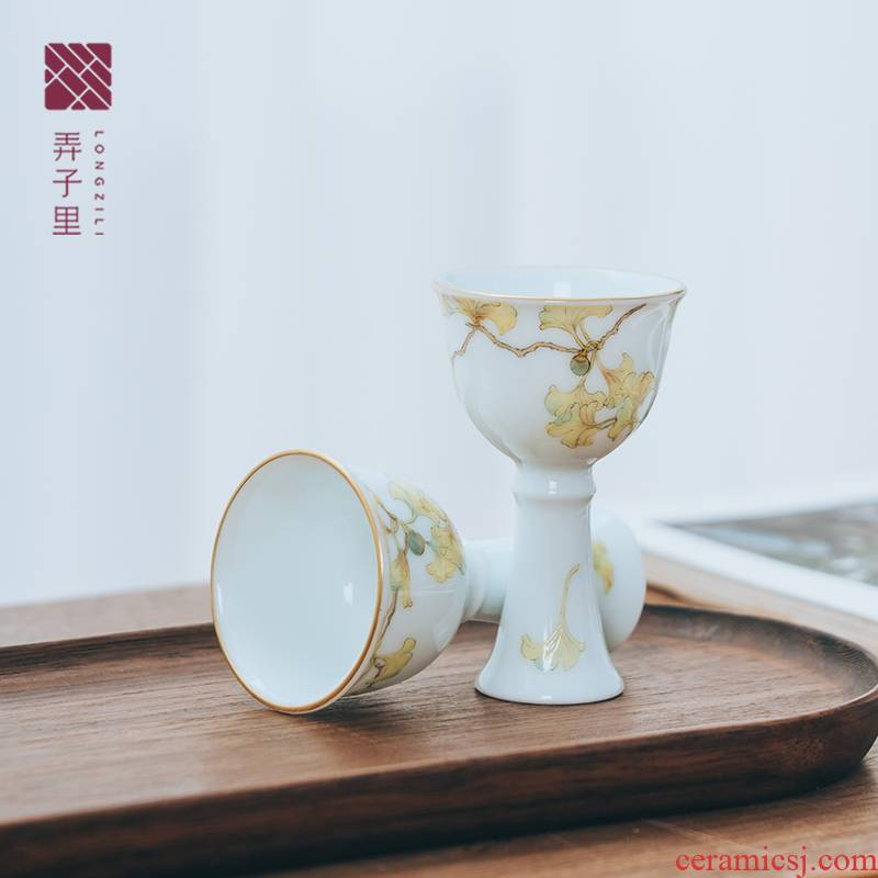 Get in ginkgo powder enamel goblet of jingdezhen ceramics master kung fu tea cup single CPU