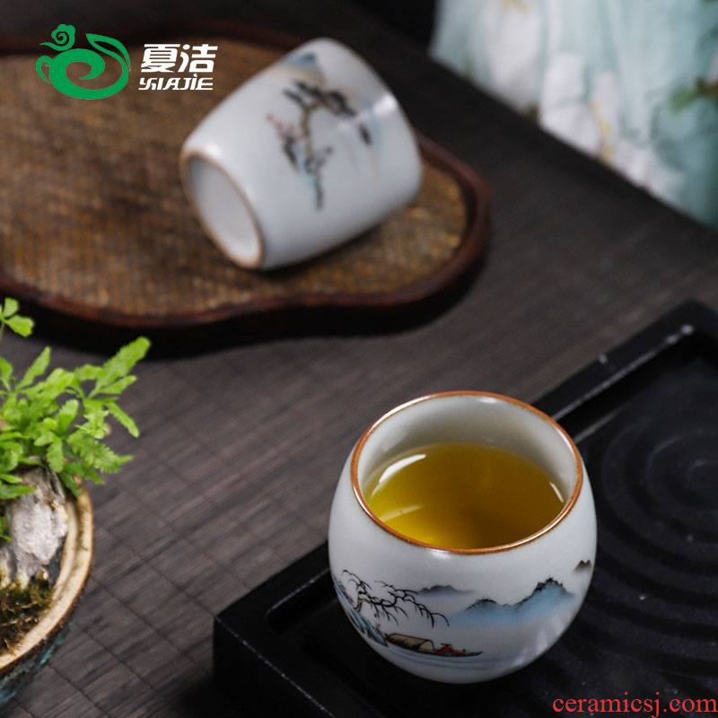 Four - walled yard your up ceramic cups household single tea cup kung fu tea tea cup sample tea cup pure manual, master