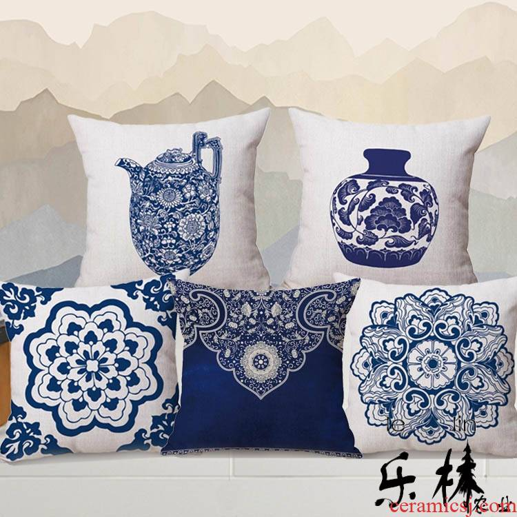 Chinese blue and white porcelain cotton and linen pillow annatto sitting room sofa as for leaning on pillows on the back of the head of a bed of classical Chinese style tea room