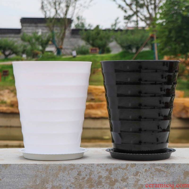 Oversized thickening capacity of black and white thread flowerpot circular resin imitation ceramic plastic tray was green plant POTS