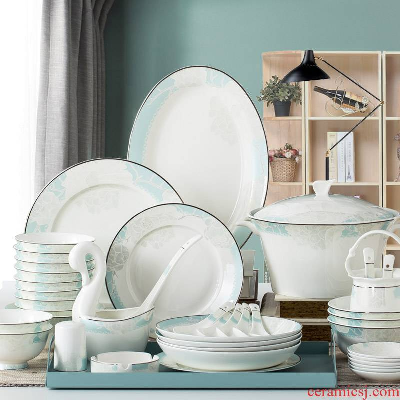 Ipads China tableware dishes suit household combination European - style ripples in jingdezhen ceramic bowl chopsticks contracted Europe type plate