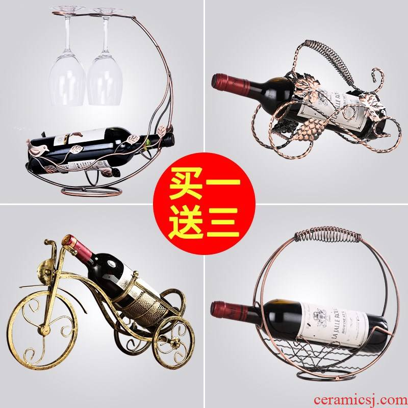 Red wine rack furnishing articles European creative I and contracted, a bottle of household stainless steel wine move decorative wrought iron