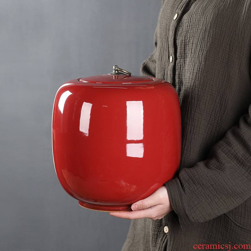 Caddy fixings 3 kg large Chinese red sealed as cans ceramic tea pu - erh tea storage box shengchan dui household moistureproof tank