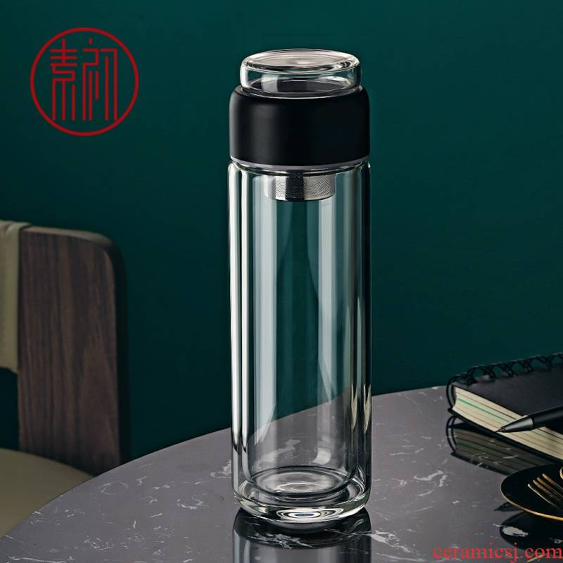 Element in the early separation of tea glass cup men 's portable drop getting summer heat insulation transparent filter double make tea