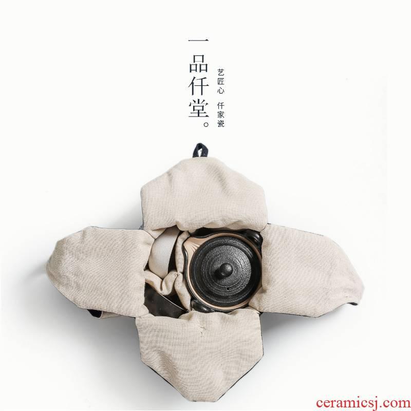 Yipin # $a pot of two cups of travel bag portable receive bag tea bag bag bag bag crack the teapot cup