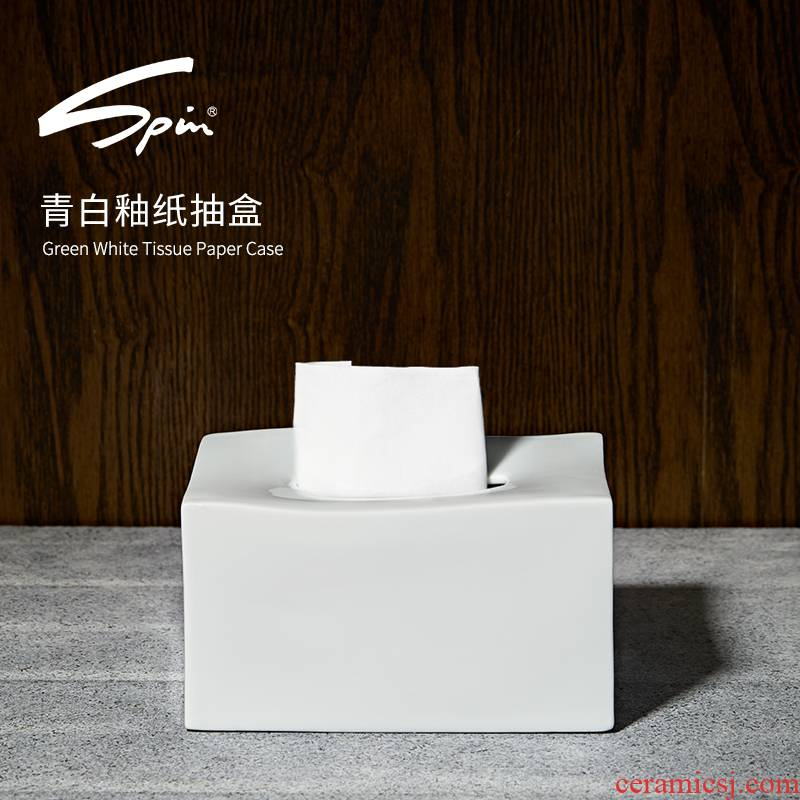 Spin green smoke European ceramics craft paper suction box sitting room is contracted creative home paper for the Nordic trumpet