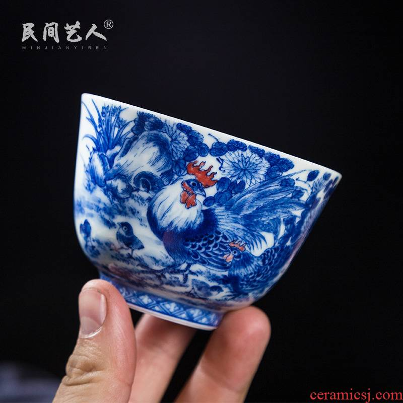 Blue and white pheasant jingdezhen ceramic checking master cup hand - made teacup single CPU use large sample tea cup