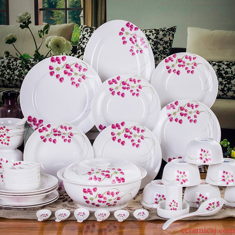 Jingdezhen Chinese dishes suit ceramic bowl chopsticks home ipads porcelain microwave oven plate to use the add red sweet