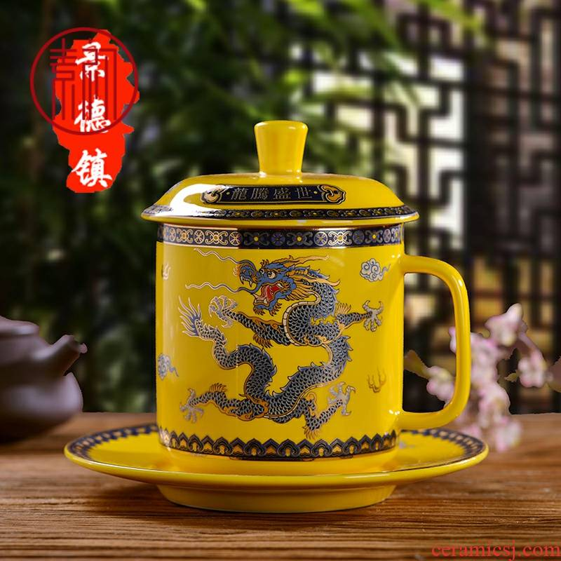 Element at the beginning of jingdezhen ceramic cups dragon glass ceramic three - piece with the cover individual cup tea cup home office meeting