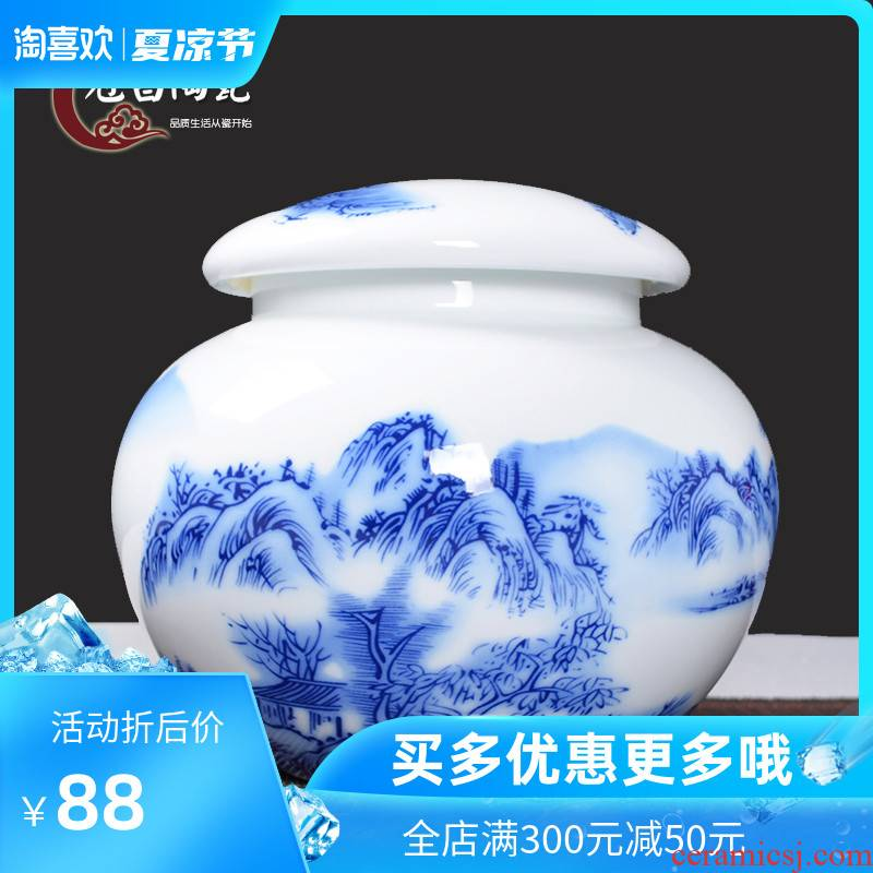 Chang ceramic crown caddy fixings large POTS sealed tank capacity 2 jins half tieguanyin with blue and white porcelain household gift box