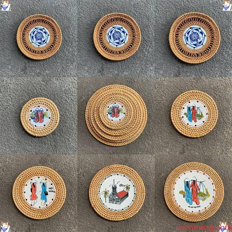 One autumn rattan has cup mat dish pad insulation pad the eat mat sample tea cup ceramic tea - pot pad suit