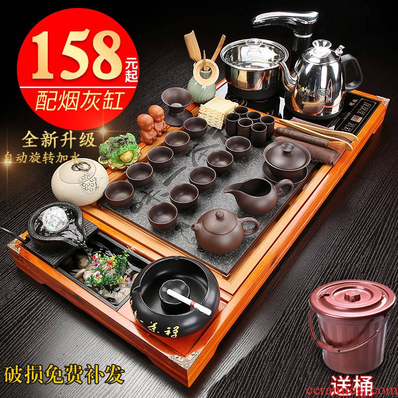 Automatic tea set suit modern kung fu of a complete set of violet arenaceous household contracted one solid wood tea tray tea tea cup