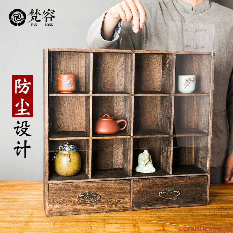 Vatican let zen solid wood frame kung fu tea rich ancient frame tea pet receives ark, multilayer teapot tea shelf