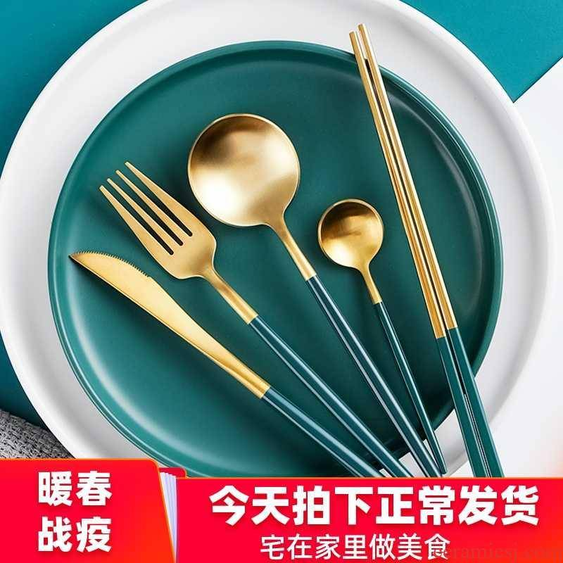 Nordic western - style food tableware, knives and forks for two or three piece suit household web celebrity Portuguese steak knife and fork dish full set of packages