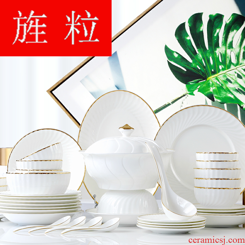 Continuous grain dishes suit household ceramic tableware dishes tangshan European porcelain tableware bowls Korean six people in the new