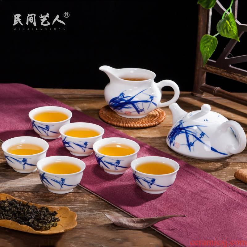 Jingdezhen porcelain hand - made porcelain tea set suit household ceramics fair kung fu tea cup teapot tea set