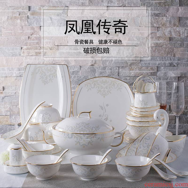 Ipads China tableware suit household jingdezhen ceramics Korean dishes dishes chopsticks 60 head up phnom penh gifts
