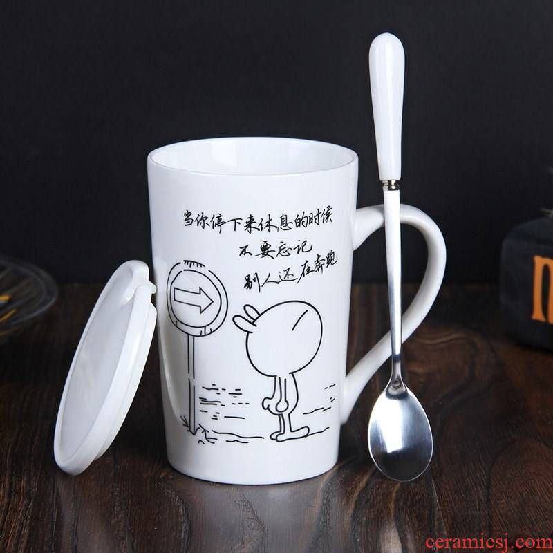 Coffee cup princess water glass ceramic keller cups with cover the spoon with a cover girl couples office home