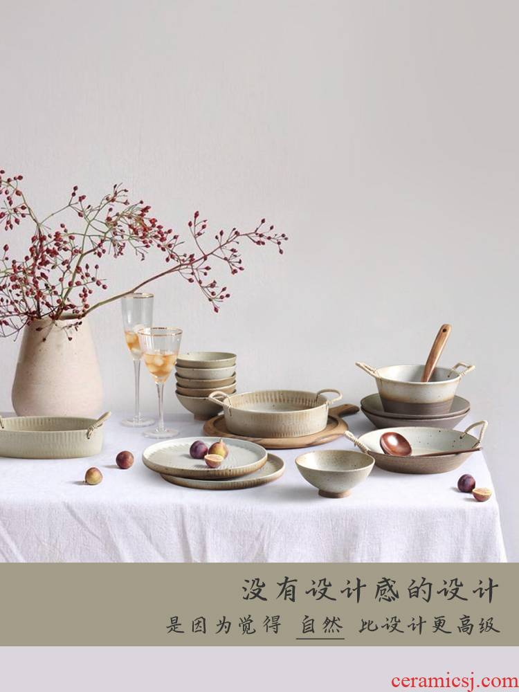 Coarse pottery bowl dishes move household manual old enamel hat to bowl of Japanese retro nostalgia creative ceramic tableware