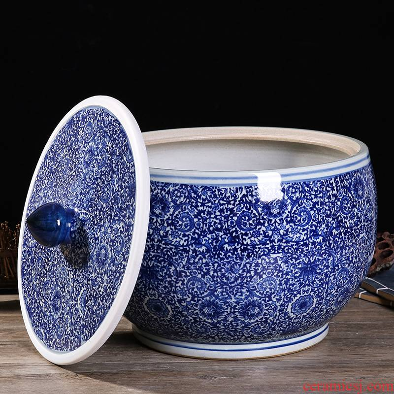 Jingdezhen ceramic barrel ricer box 20/30/50 kg with cover seal insect - resistant moistureproof cylinder pickles tank household